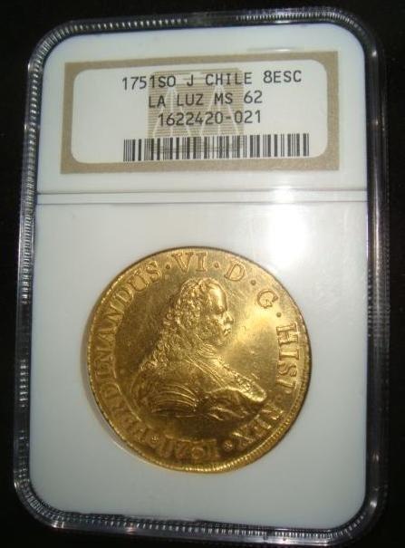 31: RARE Gold Coin NGC MS62 1751 SO J CHILE 8 ESCODO: