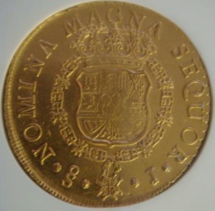 31: RARE Gold Coin NGC MS62 1751 SO J CHILE 8 ESCODO: - 2