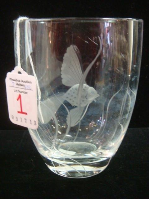 Signed Norwegian Intaglio Cut Goldfish Vase:
