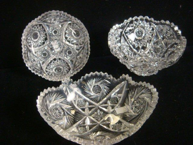 Three cut Crystal Bowls: