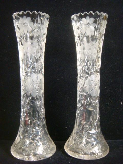Pair of Cut Crystal Vases: