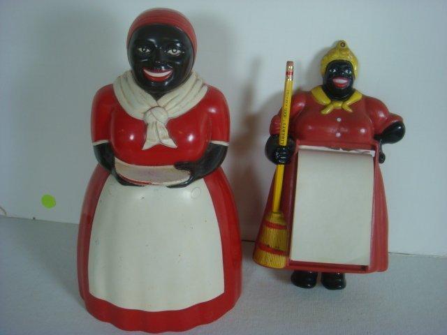 1950's Aunt Jemima F&F Plastic Cookie Jar, Memo Pad: