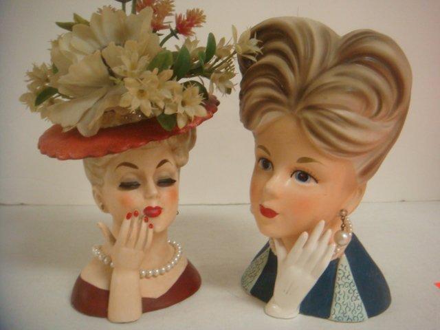 Two Vintage Lady Head Vases: