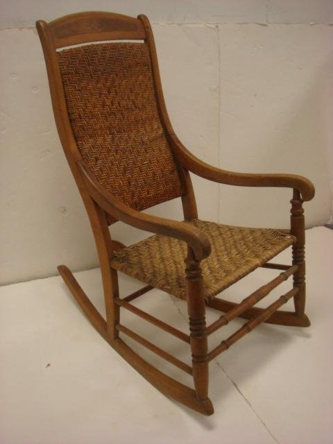 19th C. Walnut Rocking Chair with Arms: