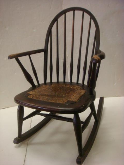 Classic 19th C Rush Seat Windsor Rocking Chair: