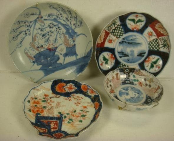 Three Imari Plates, One Asian Blue & White Bowl: