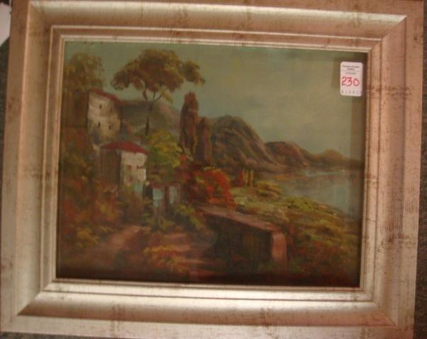 Italian Coastal Landscape Oil on Canvas Signed C REEL: