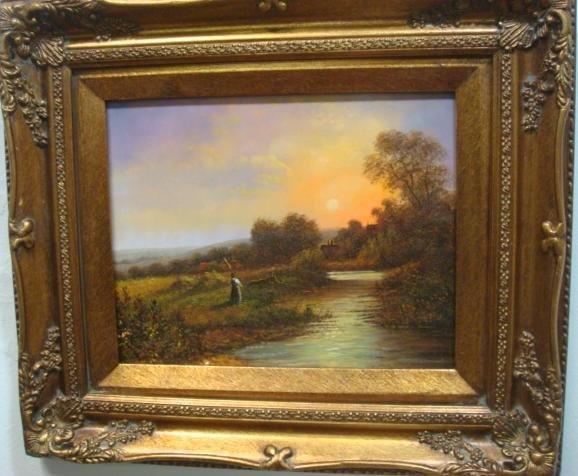 Sunrise Landscape Oil on Board: