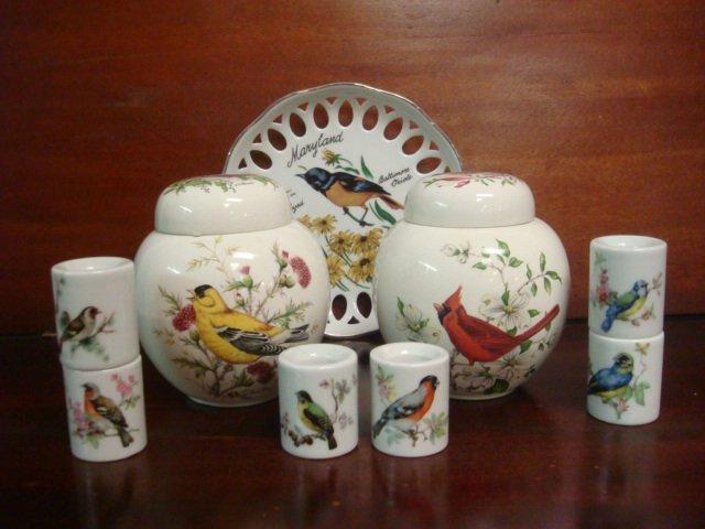 Bird Motif Ceramic Jars, Candle Holders, Plate: