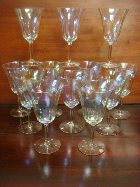 Twelve Iridized Glass Stems: