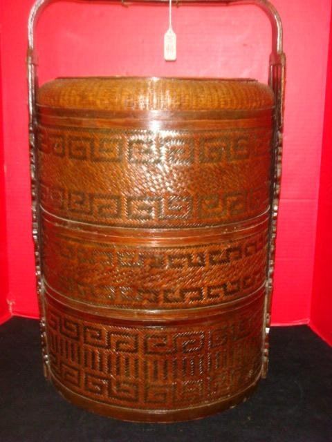 Chinese Three Tier Wicker Food Basket: