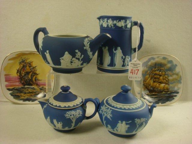 WEDGWOOD 4 Piece Jasperware Tea Set, 2 Plates: