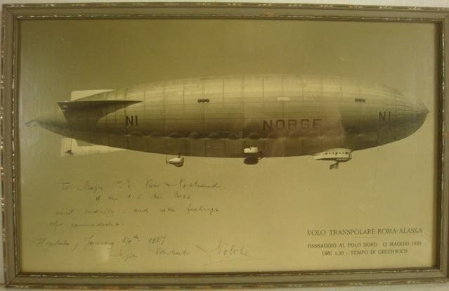 Autographed Photo Gen. UMBERTO NOBILE, Airship Norge: