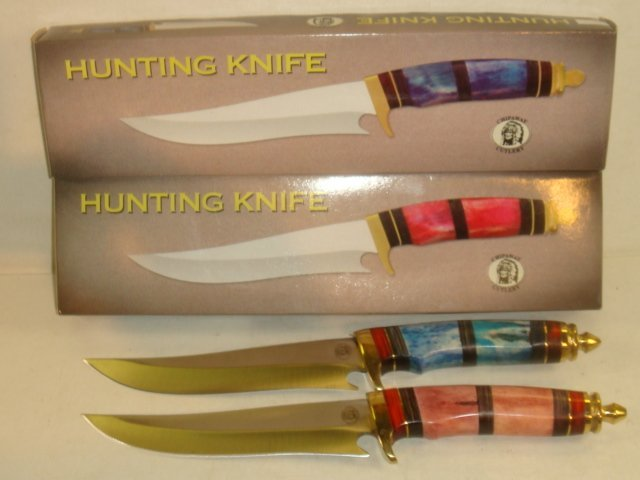 Two CHIPAWAY CUTLERY Bone Handled Hunting Knives: