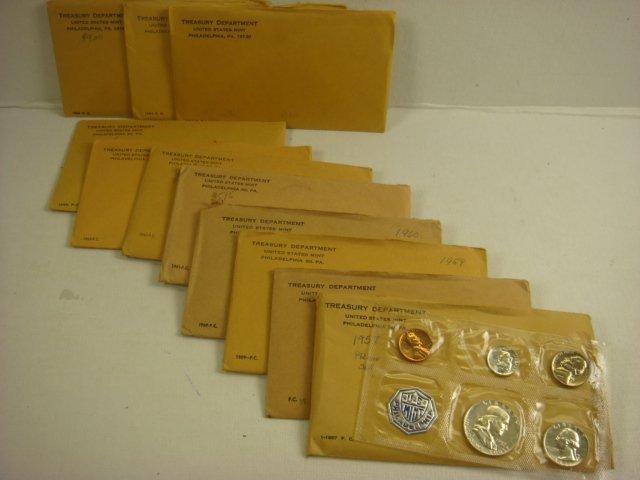 US Mint Proof Sets 1957-1964, 11 Sets: