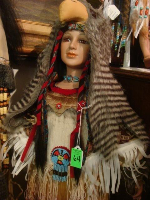 Porcelain Golden Keepsake Heirloom Indian Doll: