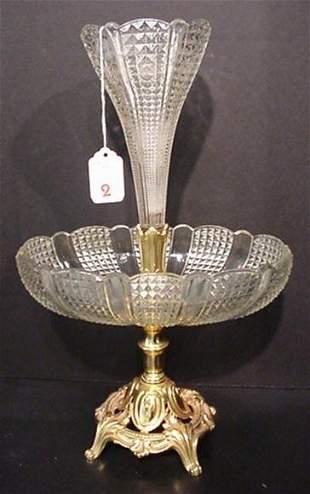 Glass Single Tulip Epergne in Depose Base