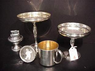 Sterling Cup, 2 Compotes, Frame and Lighte