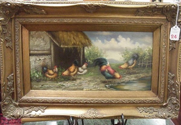 24: Oil on Board, Roosters and Hens, Gilt Fra