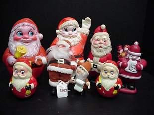 Eight Toy Santas