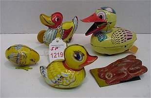 Japanese and German Tin Litho Ducks and