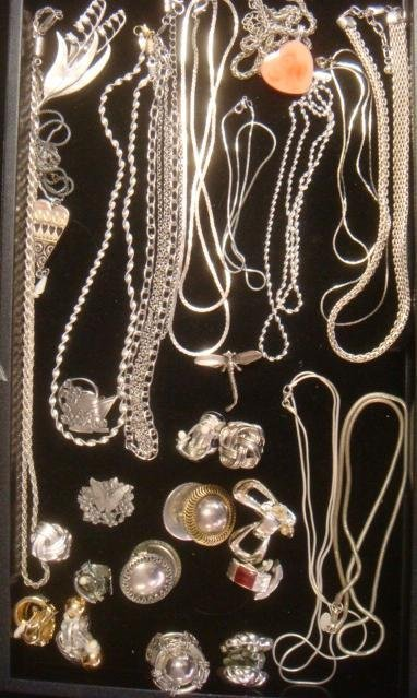 Ladies Silvertone and Pewter Costume Jewelry: