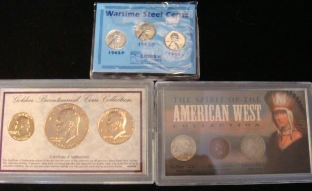 3 Collector Sets, Steel Pennies, Western Coins, Bi: