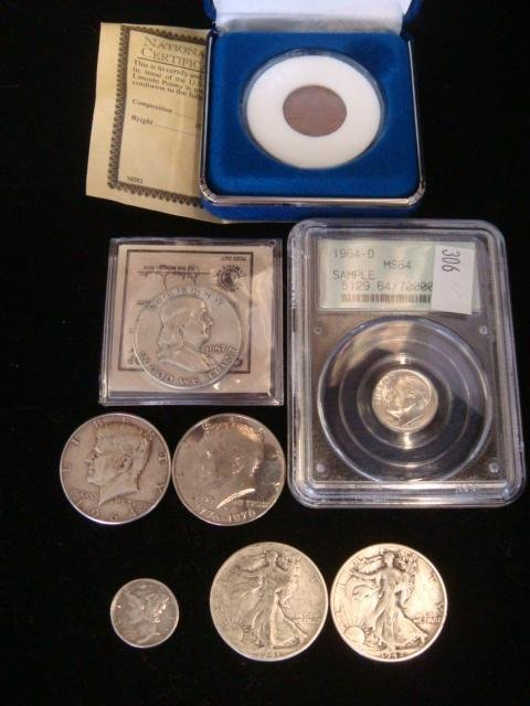 Collection of US Silver Coins and a 1909 VDB Penny: