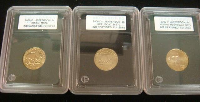 Three Voyage of Discovery Jefferson Nickels MS70: