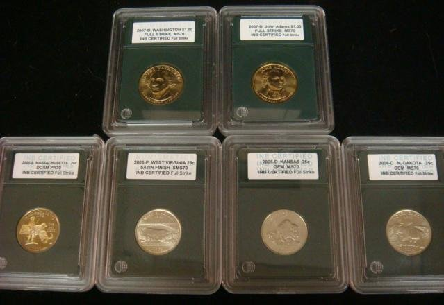 6 Slabed US Coins 2 Golden Dollars & 4 State Quarter
