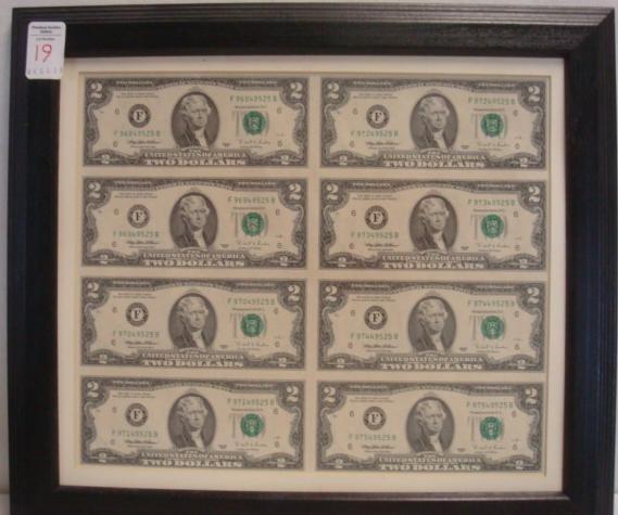 Sheet of Eight Uncut TWO DOLLAR Bills;