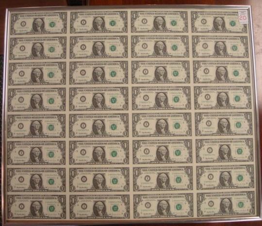 Sheet of 32 Uncut One Dollar Bills: