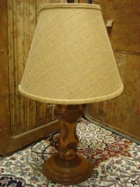 Lathe Turned Segmented Mixed Wood Table Lamp: