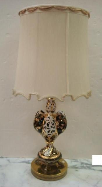 Pierced Lobed Gilt Porcelain Lamp on Brass Plinth: