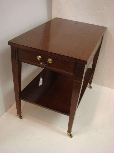 Mahogany Finish 2 Tier Side Table with