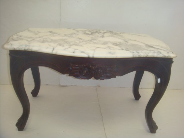 Marble Top Rose Carved Victorian Style Coffee Table: