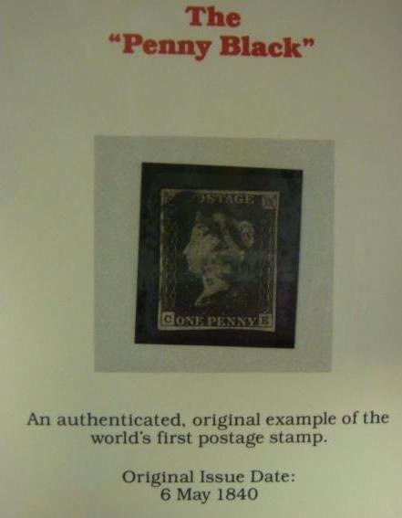PENNY BLACK, World's First Postage Stamp, 6 May 1840: