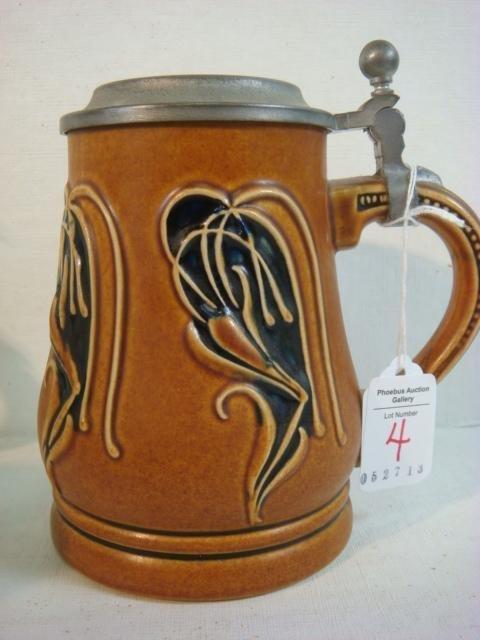 GERZ Stoneware Relief Art Nouveau Stein: