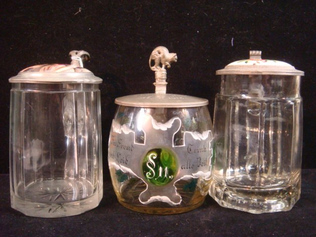 Three Vintage German Glass Steins with Pewter Lids: