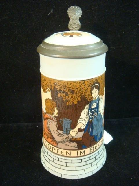 VILLEROY & BOCH METTLACH Etched 1/2 Liter Stein