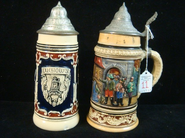 "Two Vintage German Steins, One from LUCHOW""S:"
