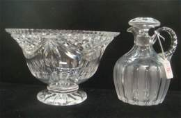 Cut Glass Jug Shaped Decanter and Crystal Footed Bowl: