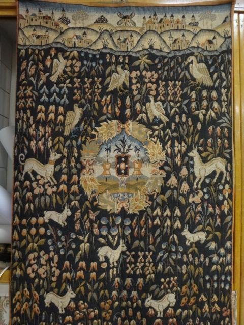 French Tapestry Wall Hanging With Birds and Animals:
