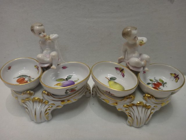 Pair of HEREND Figural Salts with Cherubs: