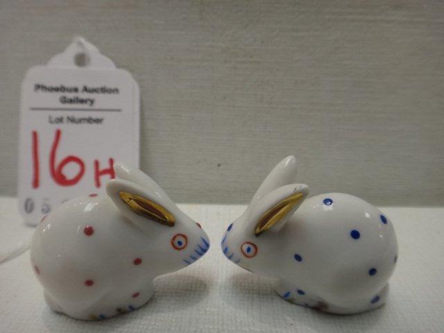 Pair of HEREND Tiny Polka Dot Bunnies: