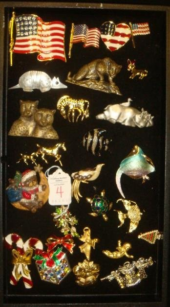 Ladies Holiday, Patriotic and Animal Pins: