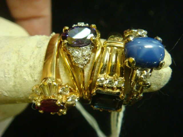 Four 14KT Ladies Ring and Amethyst Ring: