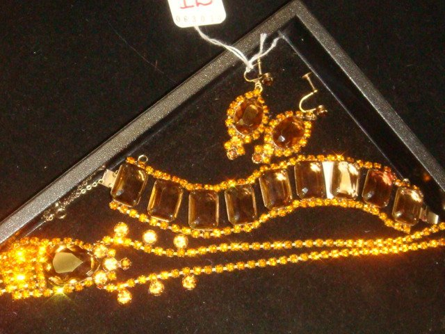 Sparkling Brown and Amber Rhinestone Jewelry Suite: