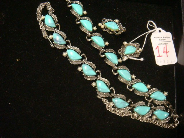 Opaque Turquoise Glass and Pearl Jewelry Suite: