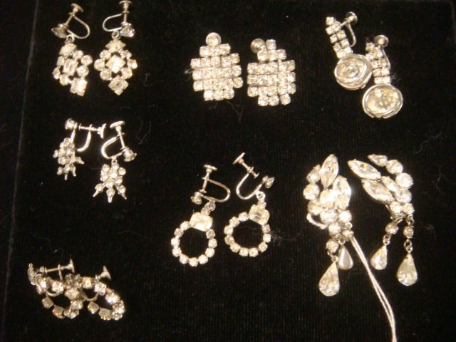 Seven Pairs of Clear Rhinestone Earrings: